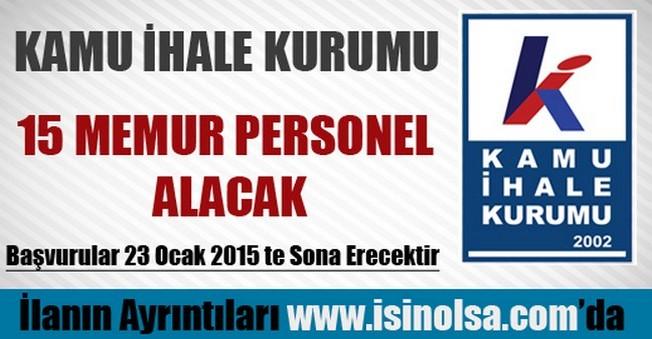 Kamu İhale Kurumu Memur Personel Alımı 2015