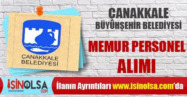 Çanakkale Büyükşehir Belediyesi Memur Personel Alımı