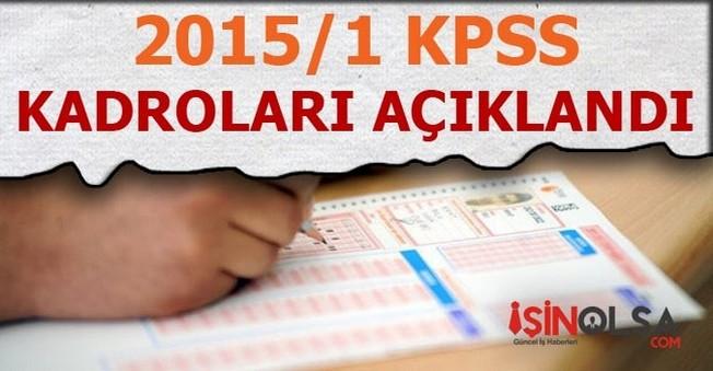 2015/1 KPSS'deki Kadrolar Açıklandı