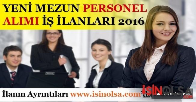 Yeni Mezun Personel Alımı İş İlanları 2016