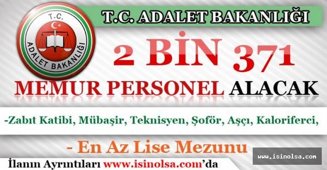 Adalet Bakanlığı 2 Bin 371 Memur Personel Alacak