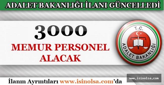 Adalet Bakanlığı Alım İlanını Güncelledi! 3 Bin Kişi Alacak