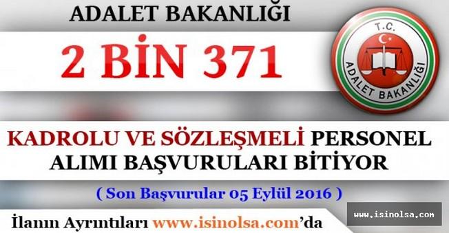 Adalet Bakanlığı 2 Bin 371 Personel Alım Başvuruları Bitiyor - Son Başvuru 5 Eylül