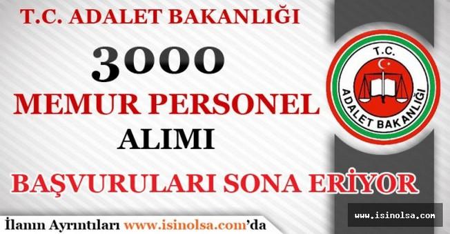 Adalet Bakanlığı 3000 Memur Alımı Başvuru Süresi Doluyor