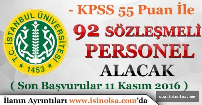 İstanbul Üniversitesi 92 Sözleşmeli Personel Alımı