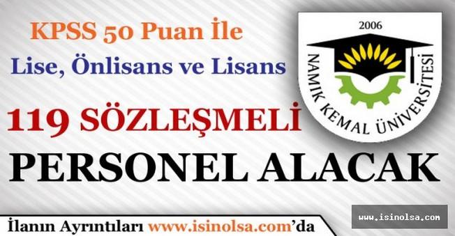 Namık Kemal Üniversitesi 119 Sözleşmeli Personel Alacak