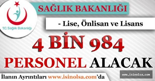 Sağlık Bakanlığı Sözleşmeli 4 Bin 984 Personel Alımı Yapacak