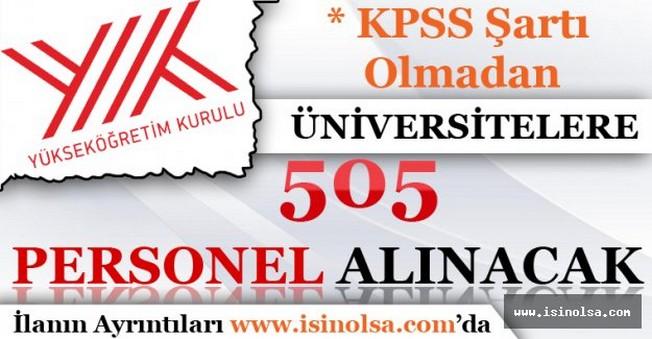 Üniversitelere 505 Personel Alınacak