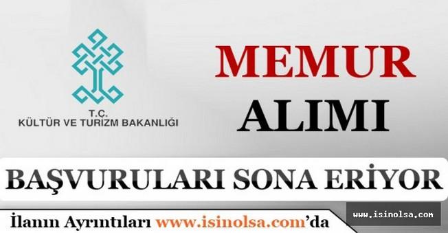 Kültür ve Turizm Bakanlığı 20 Memur Alımı Başvuruları Sona Eriyor!