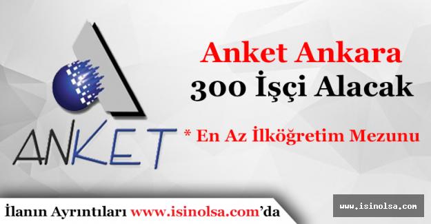 Anket Anonim Şirketi En Az İlköğretim Mezunu 300 İşçi Alacak