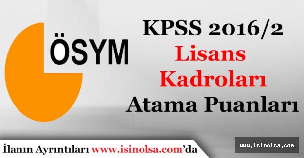 KPSS 2016 2 Lisans Mezunu Kadroları Atama Puanları Sayısal Veriler