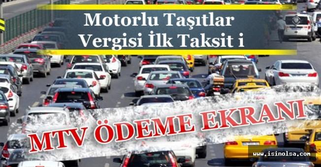 Motorlu Taşıtlar Vergisi İlk Taksit i(MTV) Ödeme Ekranı