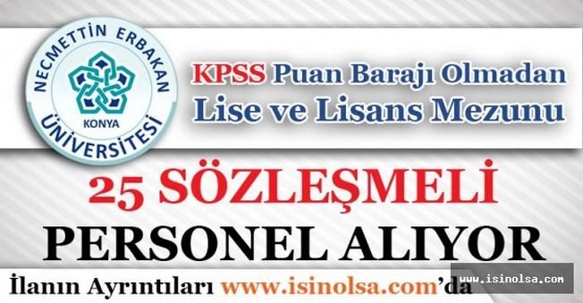Necmettin Erbakan Üniversitesi 25 Sözleşmeli Personel Alıyor