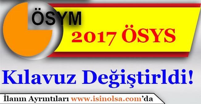 2017 ÖSYS Kılavuzu Güncellendi! İşte Yeni Kılavuz