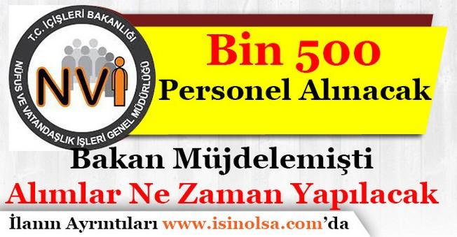 Nüfus Müdürlüklerine Bin 500 Memur Personel Alımı Yapılacak
