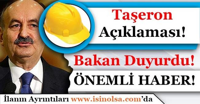 Çalışma Bakanı Müezzinoğlu Duyurdu! Taşeron İşçileri İçin Önemli Açıklama