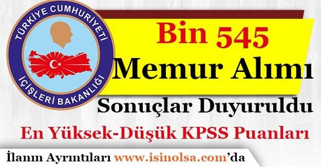 İçişleri Bakanlığı Bin 545 Memur Alımı Sonuçlar Açıklandı!