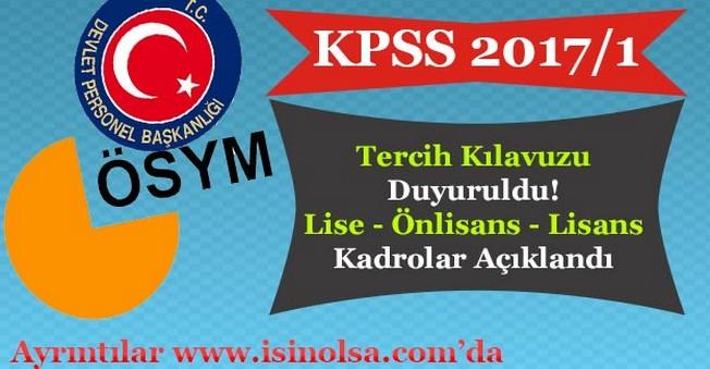 KPSS 2017/1 2.780 Memur Alımı Tercih Kılavuzu Yayımlandı!