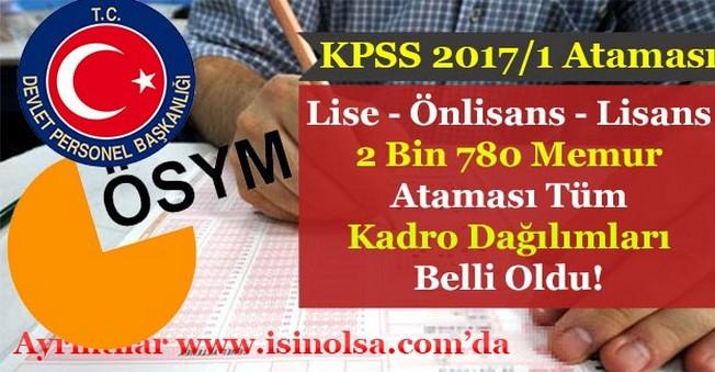 KPSS 2017/1 Lise - Önlisans - Lisans 2.780 Memur Ataması Tüm Kadro Dağılımları!