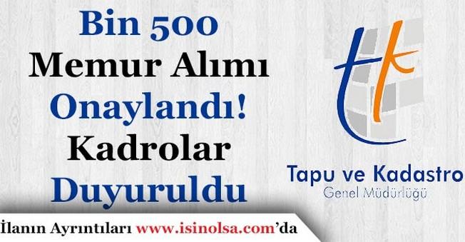 Tapu Kadastro Bin 500 Memur Alımı Onaylandı! Kadro Sayıları Duyuruldu