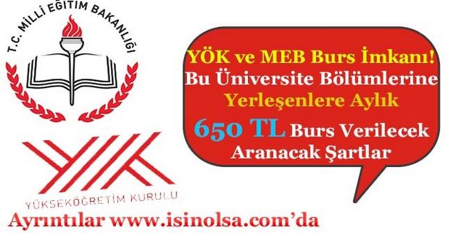 MEB ve YÖK Bu Üniversite Bölümlerini Tercih Edeceklere Aylık 650 TL Burs Verecek!