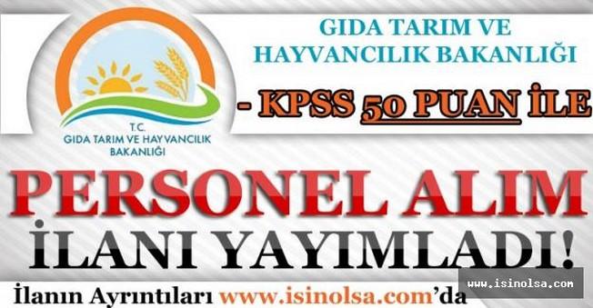 Tarım Bakanlığı KPSS 50 Puan İle Sözlemeli Personel Alım İlanı Yayımladı!