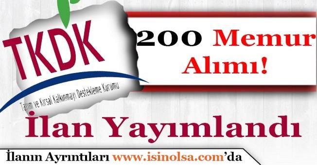 Tarım ve Kırsal Kalkınmayı Destekleme Kurumu 200 Memur Alacak!