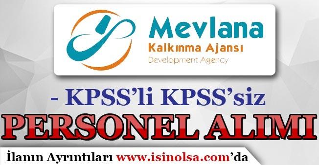 Mevlana Kalkınma Ajansı KPSS'li ve KPSS'siz Personel Alımı Yapıyor