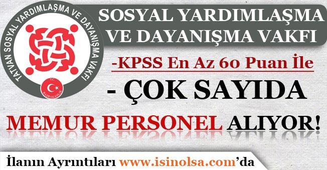 SYDV KPSS En Az 60 Puan İle Memur Personel Alımları