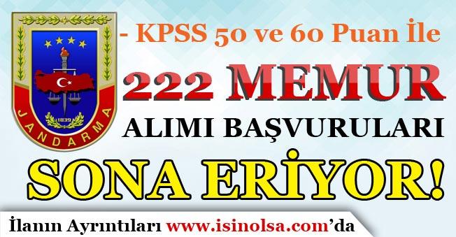 Jandarma KPSS 50 Puan İle 222 Memur Alımı Başvuruları Sona Eriyor!