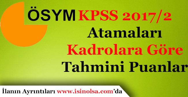 KPSS 2017/2 Kadrolara Göre Tahmini Atama KPSS Puanları Nedir?