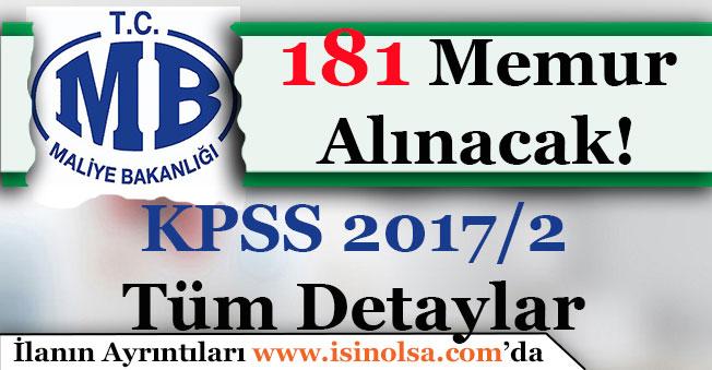 Maliye Bakanlığı 181 Memur Alımı Yapıyor! KPSS 2017/2