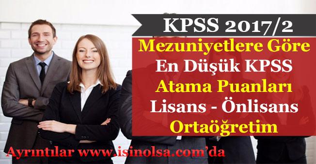 KPSS 2017/2 Mezuniyetlere Göre En Düşük Atama KPSS Puanları (Ortaöğretim - Önlisans - Lisans)