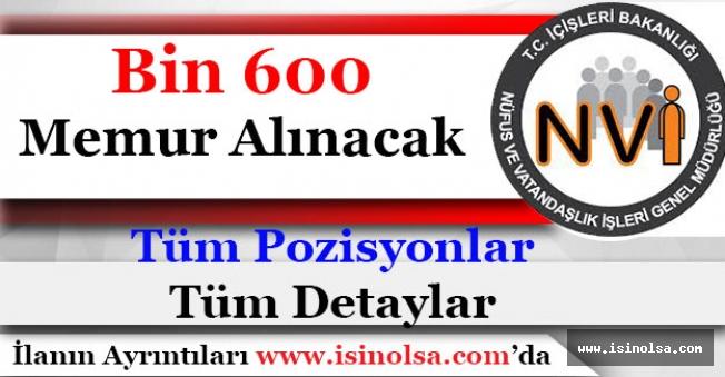 Nüfus Müdürlükleri Bin 600 Memur Alacak! Tüm Kadrolar ve Detaylar