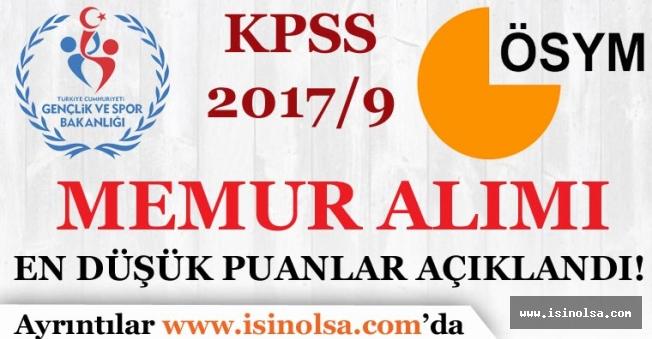 ÖSYM, KPSS  2017/9 Memur Alımı En Düşük Puanları Açıkladı