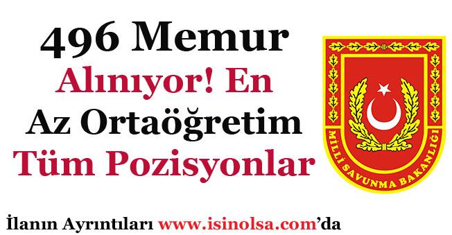 Milli Savunma Bakanlığı MSB En Az Ortaöğretim 496 Memur Alıyor!