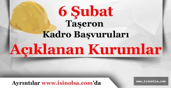 6 Şubat 2018 Taşeron Kadro Başvuru Sonucunu Açıklayan Tüm Kurumların Listesi
