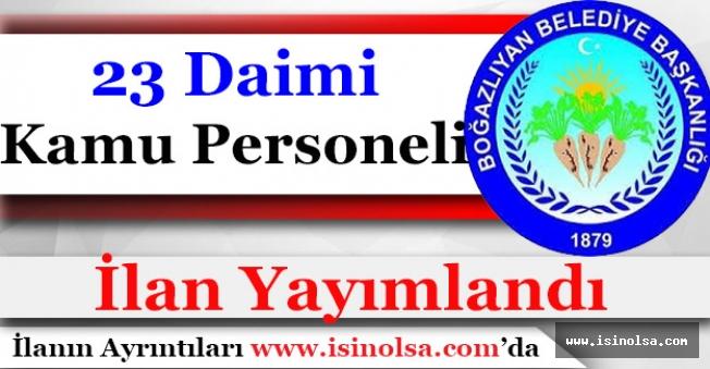 Boğazlıyan Belediye Başkanlığı 23 Daimi Kamu Personeli Alımı İlanı Yayımladı!