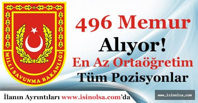 Milli Savunma Bakanlığı MSB 496 Memur Alımı Yapıyor! En Az Ortaöğretim Mezunu