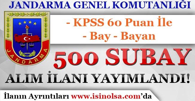 Jandarma Genel Komutanlığı 500 Subay Alım İlanı Yayımladı! Bay - Bayan