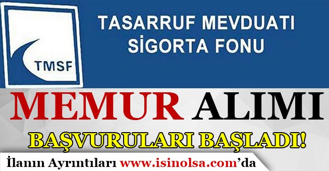 TMSF Farklı Kadrolara Memur Alımı Başvuruları Başladı!