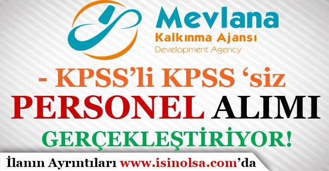 Mevlana Kalkınma Ajansı Kamu Personeli Alımı Gerçekleştiriyor! KPSS'siz veya KPSS İle
