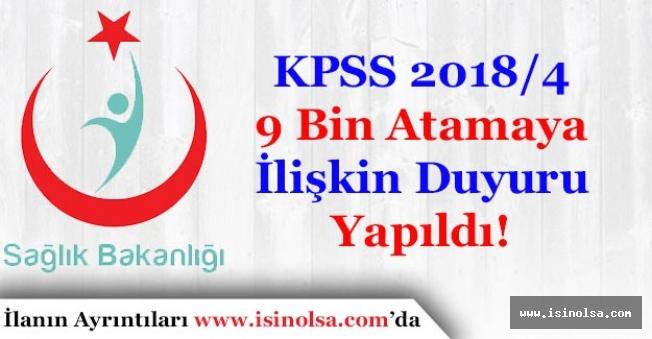 Sağlık Bakanlığı KPSS 2018/4 9 Bin Memur Alımı Hakkında Atama Duyurusu Yaptı