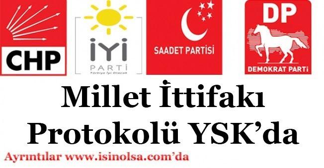 CHP, İYİ Parti, SP, DP 4'lü Millet İttifakı Protokolünü YSK'ya İletti