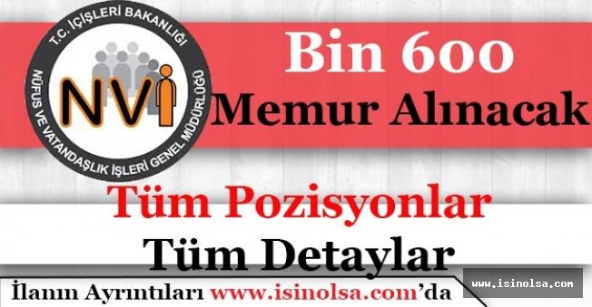 Nüfus Müdürlüklerine Bin 600 (1.600) Memur Alımı Yapacak!