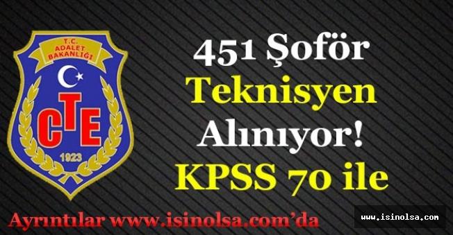 Adalet Bakanlığı CTE 451 Şoför ve Teknisyen Personeli Alıyor! KPSS 70 ile