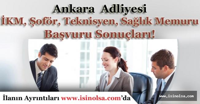 Ankara Adliyesi İKM, Şoför, Aşçı, Sağlık Memuru, Teknisyen Başvuru Sonuçları!