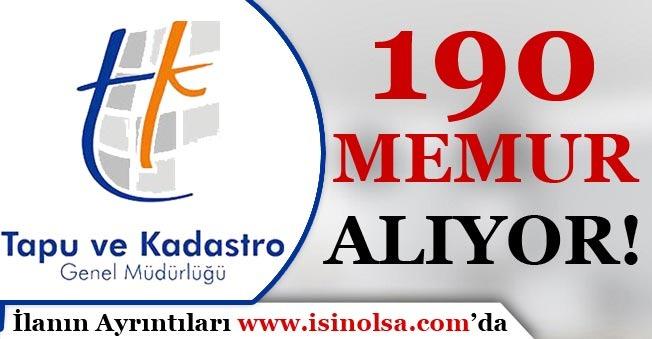 KPSS 2018/1 ile Tapu Kadastro 190 Kamu Personeli Alıyor!