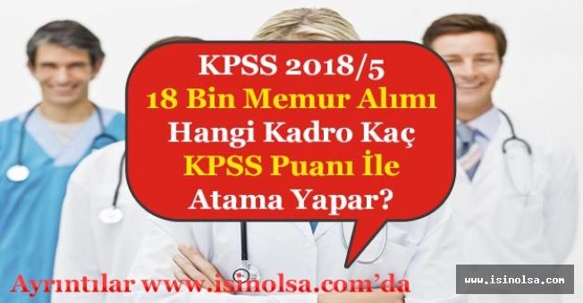 KPSS 2018/5 Hangi Branş Kadro Kaç KPSS Puanı ile Memur Alımı Yapar?