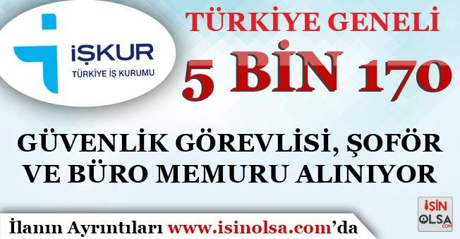 İŞKUR'da Yayımlandı! 5 Bin 170 Güvenlik Görevlisi, Şoför ve Büro Memuru Alımı Yapılıyor!